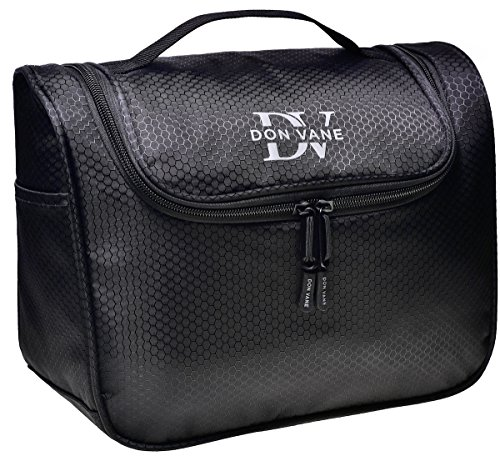 DON VANE® Großer Premium Kulturbeutel zum Aufhängen für Damen und Herren - Edle Kulturtasche viele Fächer in Schwarz (L28cm x H23cm x B12,5cm)