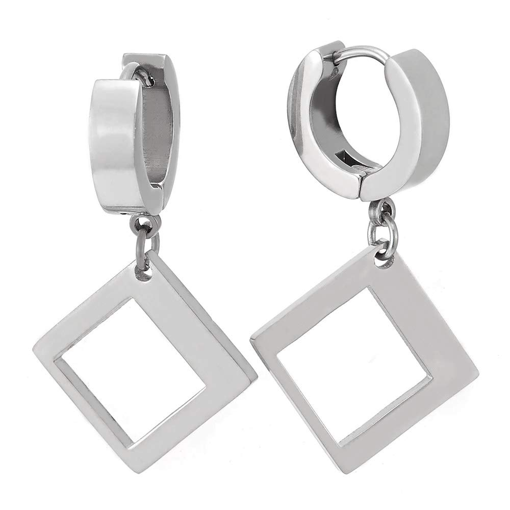 Mens Womens Boys Huggie Hinged Hoop Earrings with Dangling Open Square, Stainless Steel, 2pcs