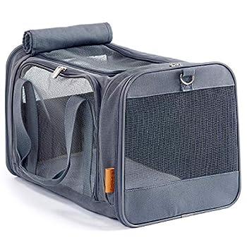 PiuPet® Sac de transport chat et petits chiens | Caisse de transport chat avec tapis en polaire confortable | Cage transport chat avec 4 ouvertures | Design robuste et fiable