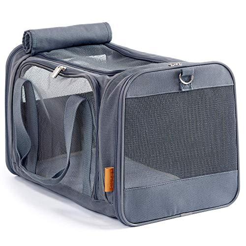 PiuPet Katzentransportbox - Ideal für Katzen & kleine Hunde - Stabile Transporttasche mit großem...