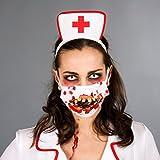NET TOYS Zombie Kostüm Accessoire Gruseliger Mundschutz blutig mit Zähnen Zombie Verkleidung Outfit Zombiekostüm Set OP-Mundschutz