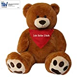 TE-Trend XXL Riesen Teddybär Plüsch Riesenplüsch Bär Luca braun 100 cm gestickte Tatzen Tuch Halstuch Ich Liebe Dich