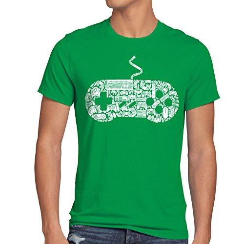 style3 Gamer T-Shirt Herren super konsole kart NES SNES zelda mario sonic wii, Größe:M;Farbe:Grün