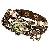 Taffstyle Damen-Armbanduhr Analog Quarz mit Leder-Armband Geflochten Charms Anhänger Uhr Retro Vintage Anker Gold Braun