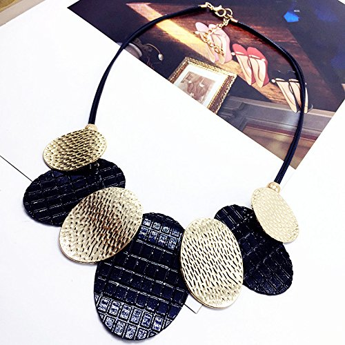 e schlüsselbein kette Europa und Amerika Fan halskette mit zubehör runde metall stück gefälschte kragen weiblich, gold schwarz ()