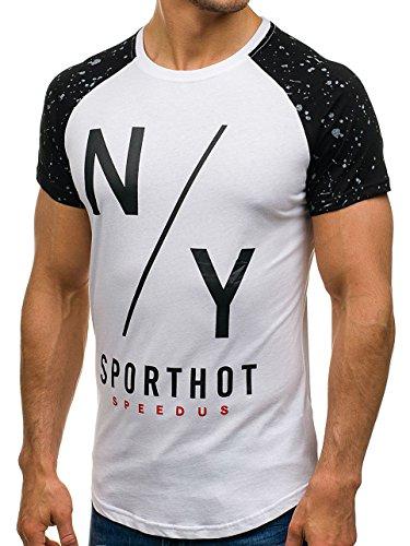... BOLF Herren T-Shirt Tee Kurzarm Rundhals Party Slim Sommer Print  Aufdruck 3C3 Motiv Weiß ...