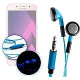 Ecouteurs LED bleus pour Samsung Galaxy A3 (2017), A5 (2017) et A7 (2017) Smartphones – luminescents + micro intégré, par DURAGADGET