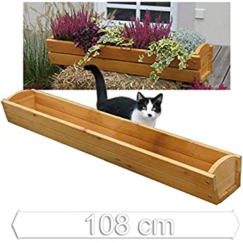 jardini re pour rebord de fen tre balconni re longueur 108 cm en bois de m l ze de gartenpirat. Black Bedroom Furniture Sets. Home Design Ideas