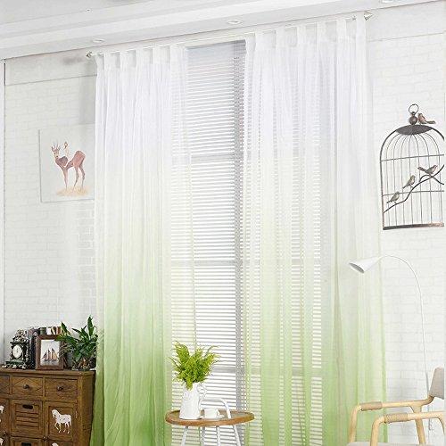 NIBESSER Transparent Farbverlauf Gardine Vorhang Schlaufenschal Deko für Wohnzimmer Schlafzimmer (245cmx140cm, Weiß und Grün)