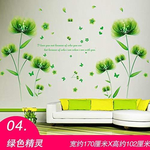 ende Hintergrund-Wand, Schlafzimmer sind gemütliche Wohnzimmer-Kunst-TV-Hintergrund-Wand-Dekorations-Tapete, dekorative Wasserdichte Aufkleber,Grüner Kobold ()
