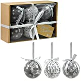 Set of 6 Luxury Christmas Baubles Traditional Tree Decoration Xmas Themed Festive Balls (Grey Baubles)