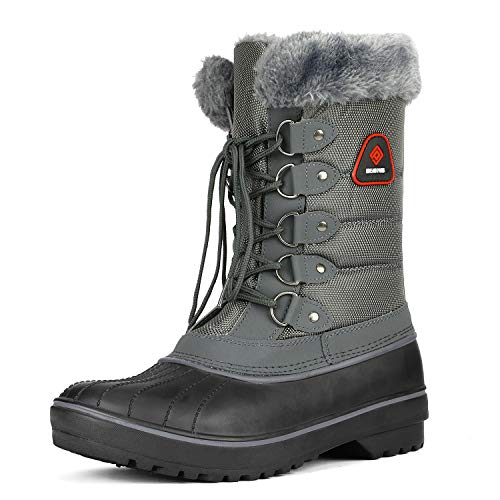 Pelz-trim Stiefel (DREAM PAIRS Frauen-DP-Canada Kunstpelzfutter Mitte Kalb Winter-Schnee-Stiefel Damen Grau 11 M US)