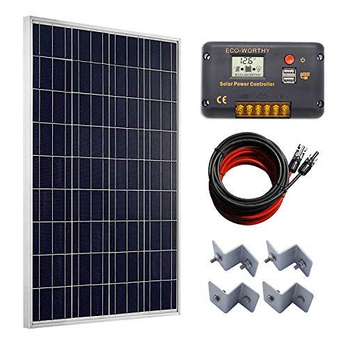 100 Watt Solarpanel + 20 A LCD Display PWM Laderegler + 50 Füße Solar Kabel Adapter + Z Montagehalterung für netzferne RV Boot Kit Rv-batterie-kabel