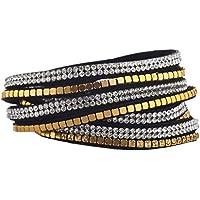 Lux accessori cristallo perline piatto tono oro nero doppia fila bracciale a fascia, in pelle scamosciata - Tono Oro Charm Bracelet Bracciale