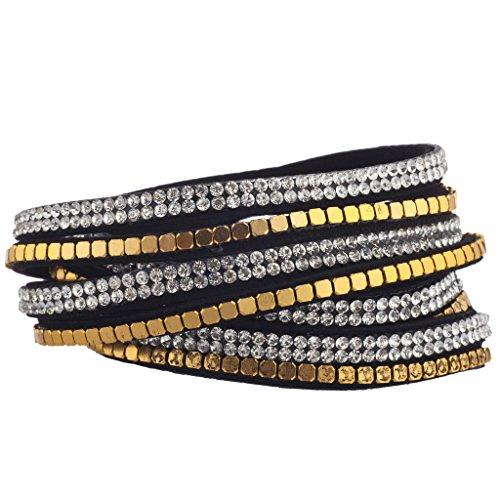 Lux accessori cristallo perline piatto tono oro nero doppia fila bracciale a fascia, in pelle scamosciata