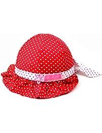 HuntGold Chapeau de soleil bébé fille confortable Motif à pois en coton 3–24mois Rouge