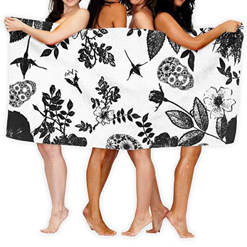 Socksforu Badetuch Black Roses and Floral Skulls Grafisches, weiches, leichtes Saugmittel für Badepool Yoga Pilates Picknickdecke Handtücher