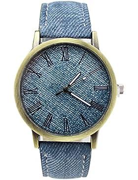 XLORDX Elegant Damen Römisch Ziffern Armbanduhr Kunstleder Denim Band Analog Qaurzuhr Armband Blau