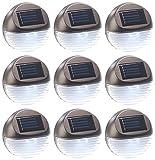 Lunartec LED Solarlampen: 9er-Set Solar-LED-Zaunleuchte für Hauswand & Treppe, Lichtsensor, IP44 (Solar-LED-Außenleuchten)