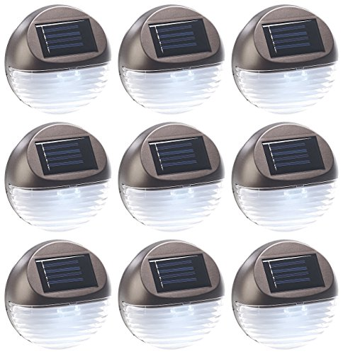 Lunartec Treppenleuchte: 9er-Set Solar-LED-Zaunleuchte für Hauswand & Treppe, Lichtsensor, IP44 (LED Solarlampen)