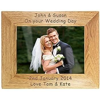 engraved landscape wooden photo frame 5x7 personalised gift - Engraved Photo Frames