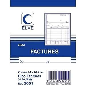Lebon Et Vernay 2051 Bloc facture 50 feuillets simples 105 x 140 mm Lot de 20