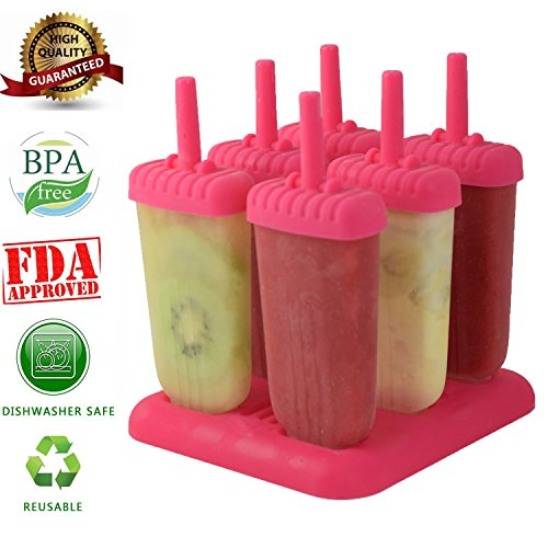 Cream Maker Spielzeug-ice (6 PC-Platz Design Ice Cream Pop Formen Maker Popsicle Formen Gefrorenes Eis Joghurt Jelly Pop Mold Popsicle Maker Lolly-Form-Behälter Pan-Set für Kinder / Kinder-Hot Pink)