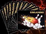 12 St. Bowling Einladungskarten-Set (10694) zum Kindergeburtstag, Bowling-Party oder zum Kegel-Abend - Die heisse Alternativ zu