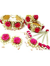 Floret Jewellery Exclusive Pink Rose Flower Gota Patti Jewellery Set With 1 Choker, Earrings, 2 Bracelets And...