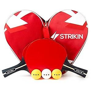 STRIKIN Tischtennis-Set Sports | 2 Allround Tischtennisschlaeger | Doppelschläger-Hülle | 3×3 Stern Bälle | Langlebige Beläge | Ergonomische Griffschalen | Garantie