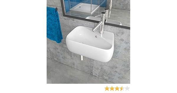 KERABAD Design Keramik Waschbecken Waschtisch Waschschale Aufsatzwaschbecken Aufsatzwaschtisch G/äste WC Becken mit Armaturloch Links KB-A486-L BxTxH 45,5x28x15,5cm