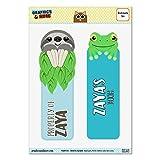 Set of 2 Glossy Laminated Sloth and Frog Bookmarks - Names Female Za-Zy - Zaya