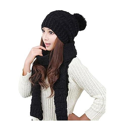 WINOMO Damen Winter gestrickter Hut Mütze und Schal Set schwarz
