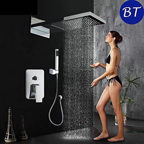 Luxurious shower Luxus Niederschlag Wasserfalldusche mit zwei Funktion Mischbatterie Dusche Badezimmer verdeckte Duschsets Badewanne Badezimmer Dusche Hand (Niederschlag Brunnen)