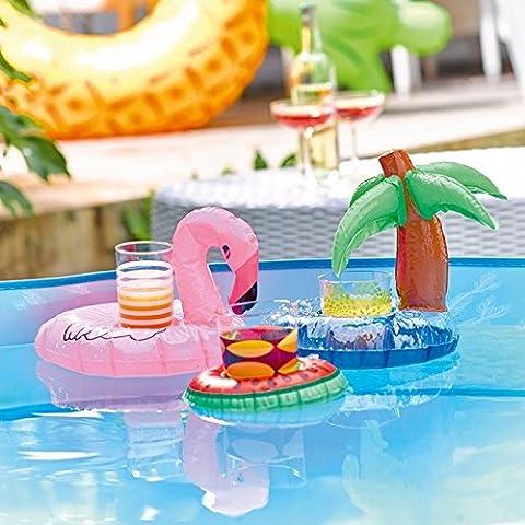 Talking Tables Lot de 3mini supports gonflables pour verre (Flamant rose/pastèque/palmier) pour une fête d'été, piscine ou de festival Multicolore
