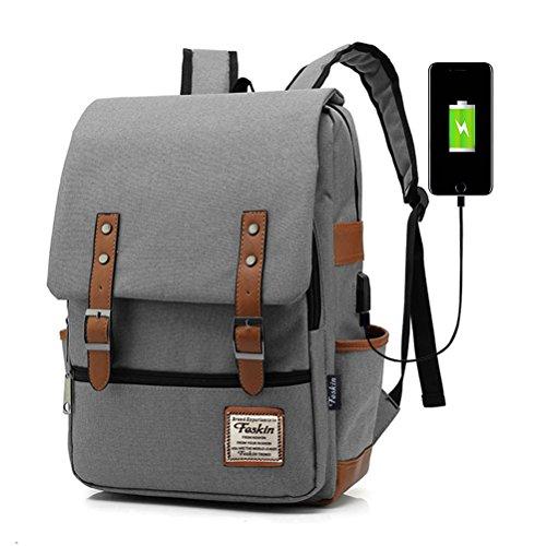 Unisex Multiuso Zaino con porta USB, FEWOFJ Zaino Per PC Portatile Impermeabile da uomo borsa universitaria daypack Per La Scuola, Business - Grigio
