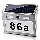 Numero civico a energia solare con 7 LED, interruttore crepuscolare e rilevatore di movimento in acciaio inox, ecologico, bianco