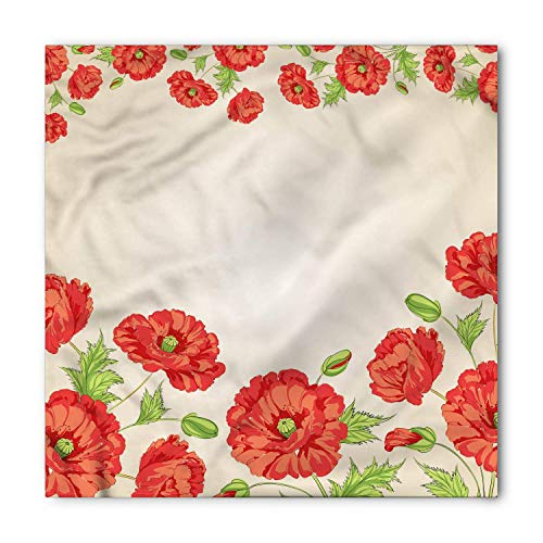 ZMYGH Floral Bandana, Card with Poppy Flowers, Unisex Head and Neck Tie 100x100cm (Pink Pirate Bandana)