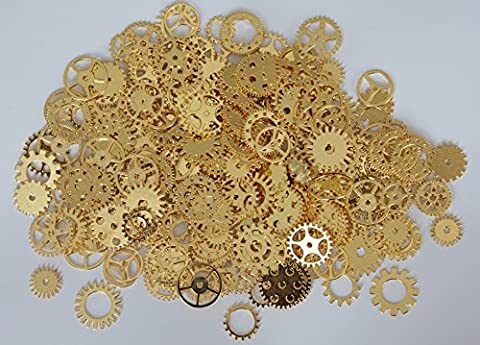 Make It Magical Crafts & Gifts® Steampunk Cyberpunk Watch Parts Vintage Gears Wheels Cogs Gold Silver Bronze Jewellery Making Crafts Art (50g pack, approx 35pcs) (Polished