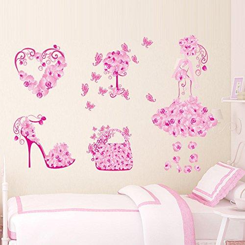 LQRRHY Bunte Blumenmädchen Tasche Schuhe Schmetterlinge Wandaufkleber Kinderzimmer Herz Wandtattoos Mädchen Schlafzimmer Dekor Wandbild Poster (Für Dekorationen Tasche Papier Halloween)