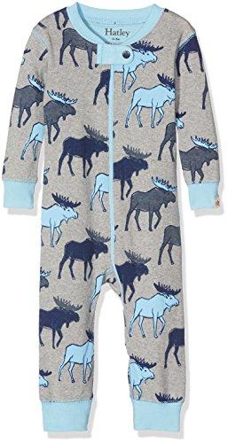 Hatley Baby-Jungen Schlafstrampler 100% Organic Cotton Sleepsuit, Grey (Blue Moose), 6-9 Monate (Baumwolle Pj Herren)