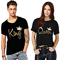 We2 Cotton Couple T-Shirts King and Queen (Pack of 2) (Men-M, Women-S)