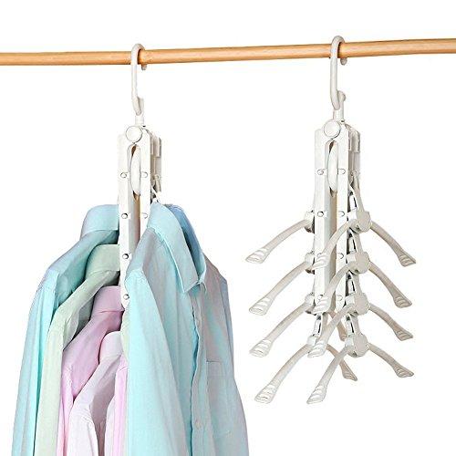 LeRan Zusammenklappbare Kleiderbügel, Multifunktions Kleideraufbewahrung Organizer Ideal für Jeans Mäntel ein Homewares Schrank Zubehör