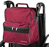 Medipaq Deluxe Wheelchair Bag - Attaches to The Handles to Provide Useful and Convenient Storage (Wine)