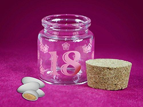 Vetrine in rete bomboniere portaconfetti 36 pezzi per 18 anni barattolo di vetro tappo di sughero blu e rosa diciottesimo compleanno maschio e femmina (rosa) g63