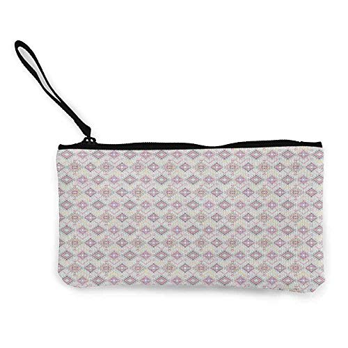 TTmom Damen Leinwand Geldbörse Portemonnaie Geldbeutel,Primitive Country Pastel Colored Ikat Style Pattern with Grunge Look and Geometric Motifs Wallet Coin Purses Clutch W 8.5