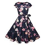 JMETRIC JY11988 50er Jahre Retro Hepburn-Stil Kleid Hohe Taille Faltenrock Blumendruck Schnürkleid Sommerkleid (Rot1,L)