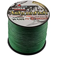 Ashconfish Braided Fishing Line - 8 Strands Super Strong PE Fishing Wire Multifilament Fishing String 500M/547Yards Fishing Thread 70LB Test- Abrasion Resistant Incredible Superline Zero Stretch Small Diameter - Moss Green