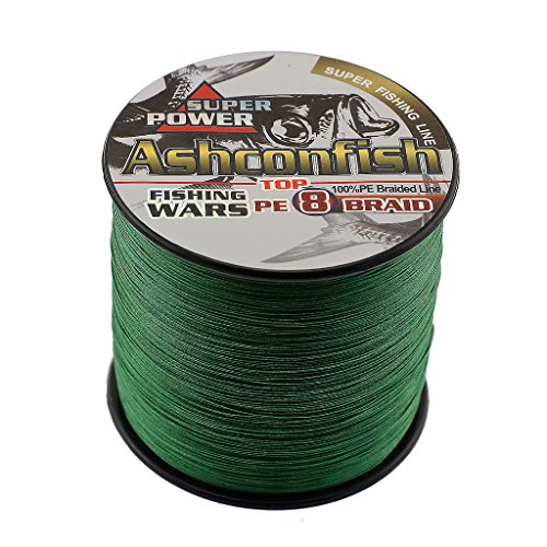 Ashconfish Braided Fishing Line - 8 Strands Super Strong PE Fishing Wire Multifilament Fishing String 500M/547Yards Fishing Thread 200LB Test- Abrasion Resistant Incredible Superline Zero Stretch Small Diameter - Moss Green