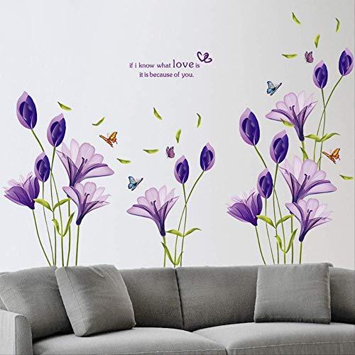 BLLXMX Liebe lila lilie blume abnehmbare vinyl aufkleber wandaufkleber diy kunst wohnzimmer dekorative wohnkultur tapete 60 * 90 cm
